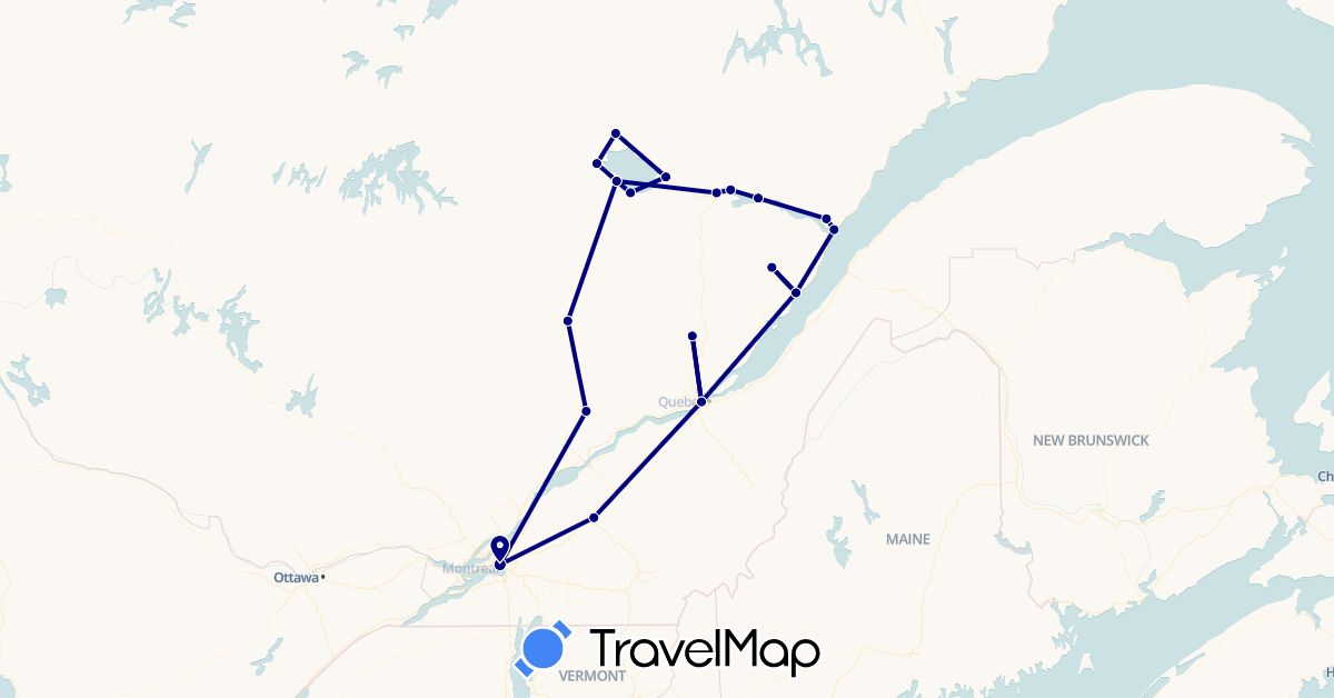 TravelMap itinerary: driving in Canada (North America)