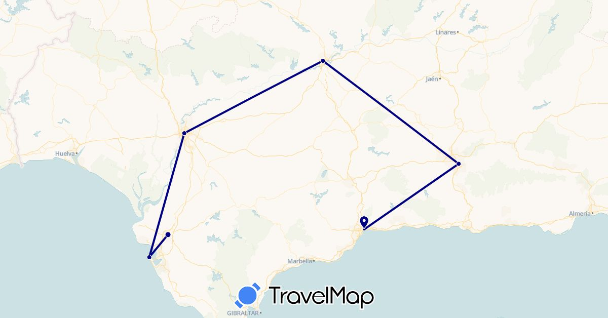 TravelMap itinerary: driving in Spain (Europe)